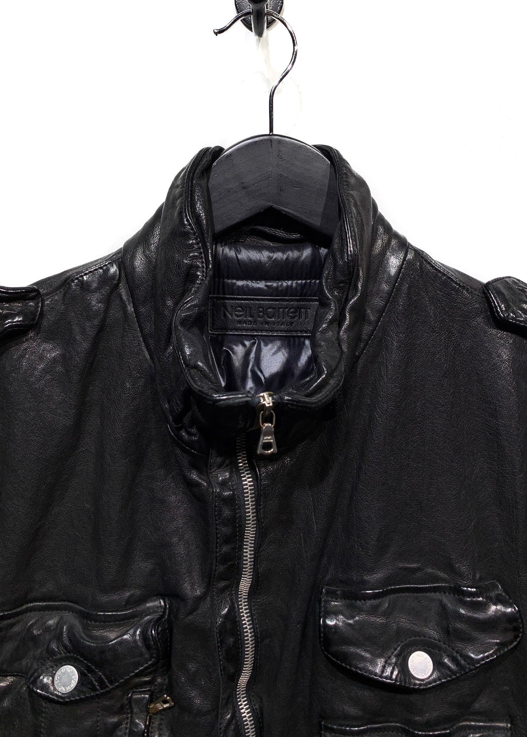 Neil Barrett Black Down Buffalo Leather Jacket