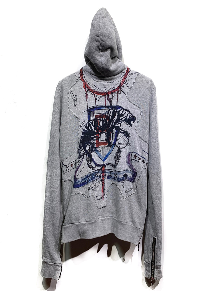 Balmain Grey Printed Distressed Zip-up Hoodie