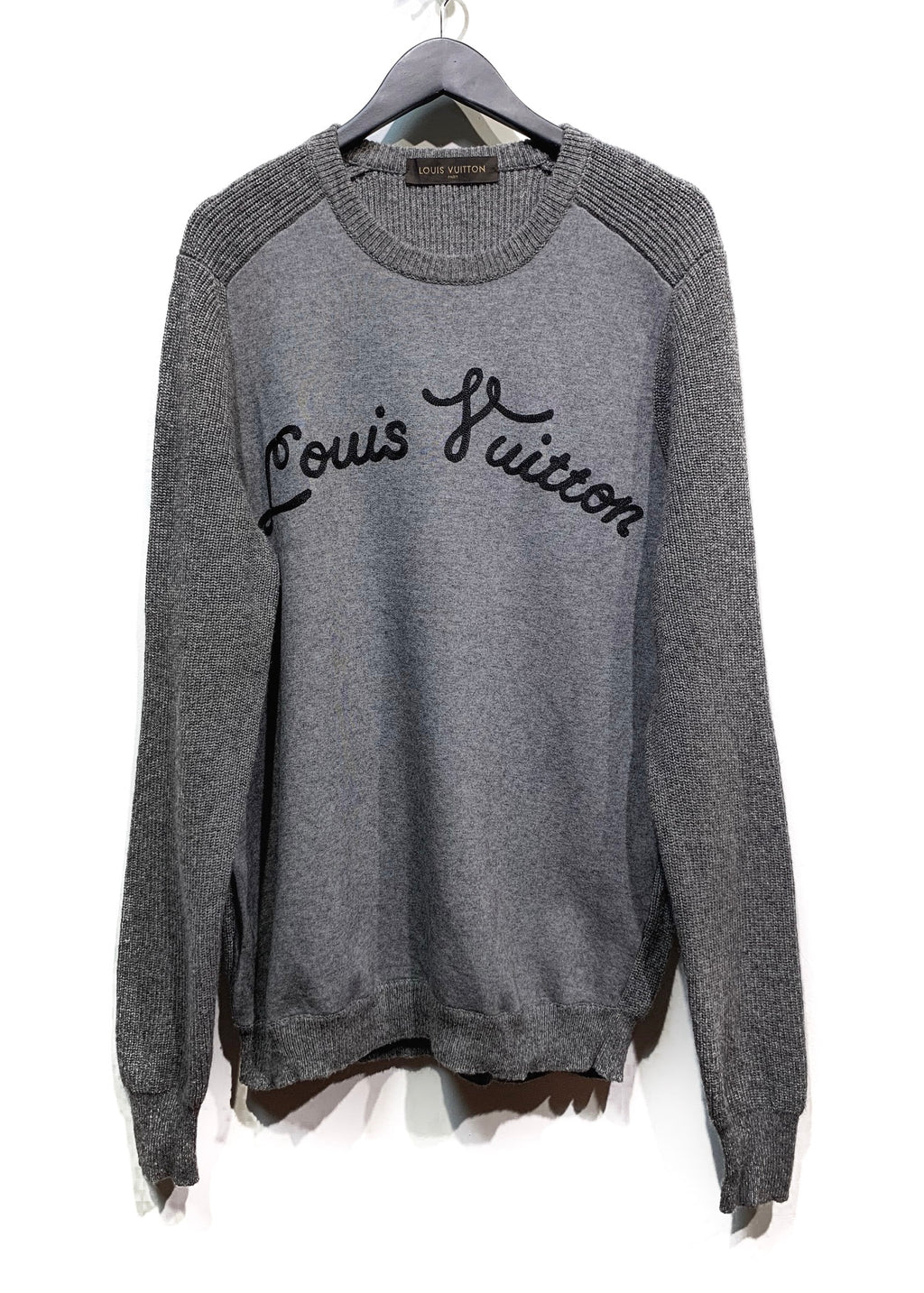 Louis Vuitton Grey Camelhair Blend Logo Embroidered Ribbed Knit Sweater