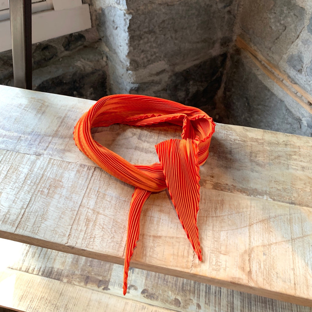 Hermès Iridescent Orange Plissé Scarf