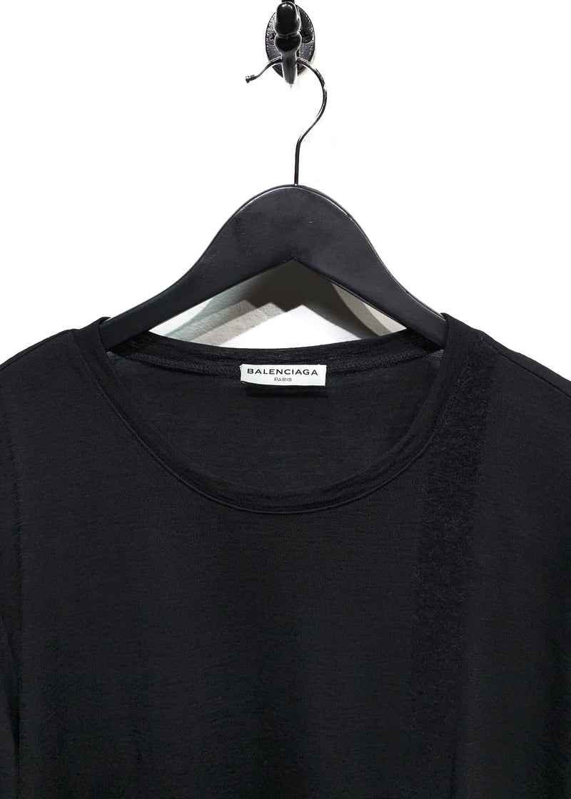 Balenciaga Black Wool Tonal Stripe Thin Sweater