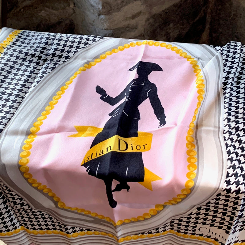 Christian Dior Pink Houndstooth New Look Silk Scarf