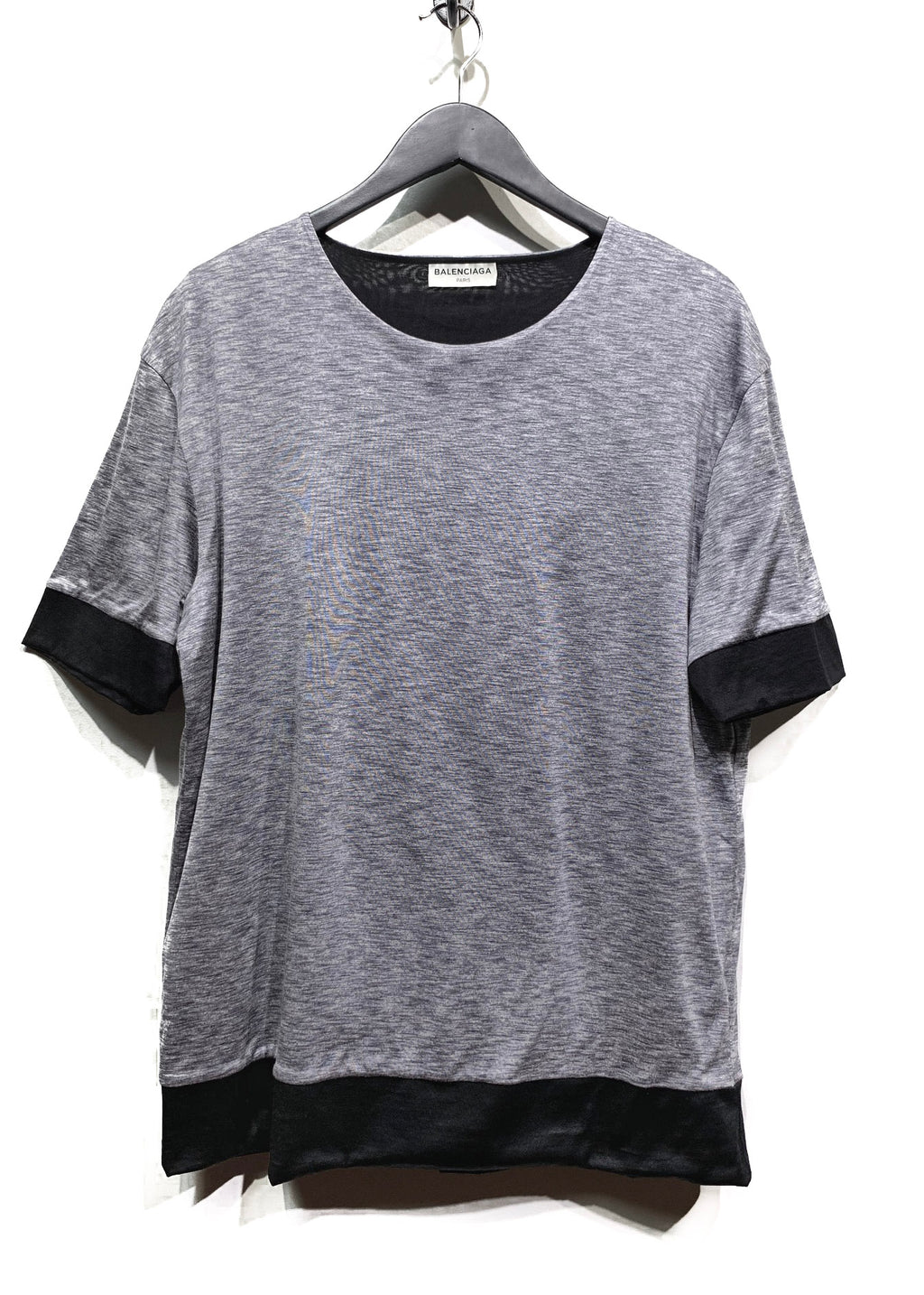 Balenciaga Colorblock Grey Black Cotton Silk T-shirt