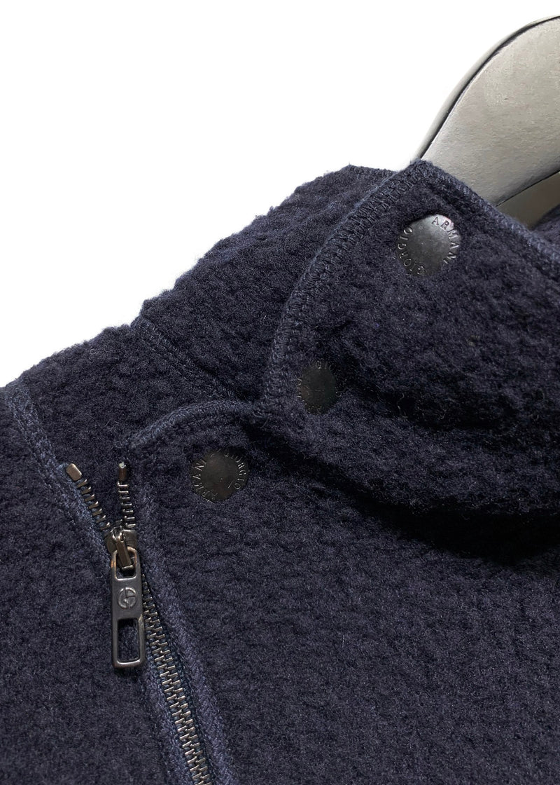 Giorgio Armani Navy Bouclé Aymmetrical Zip-up Sweater