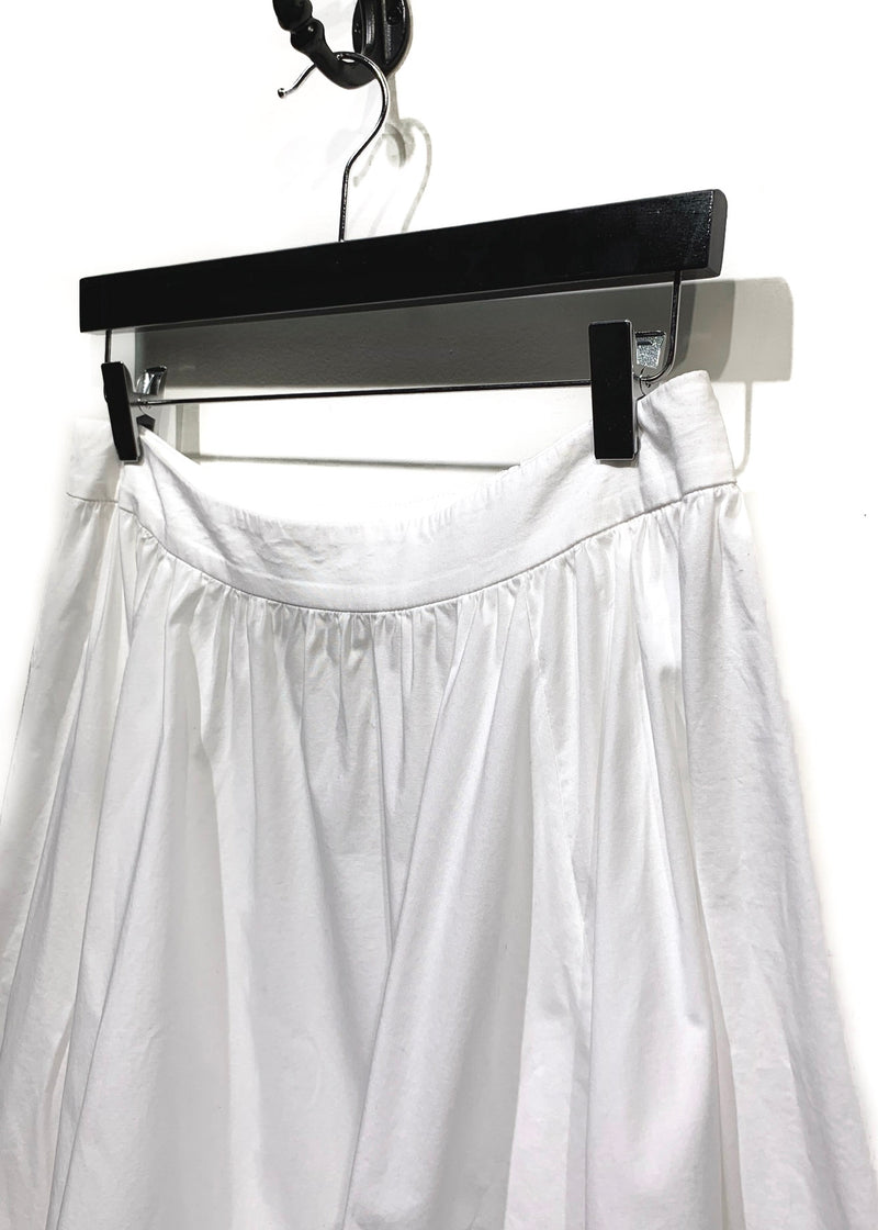 Cédric Charlier White Asymmetrical Ruffled Cotton Skirt