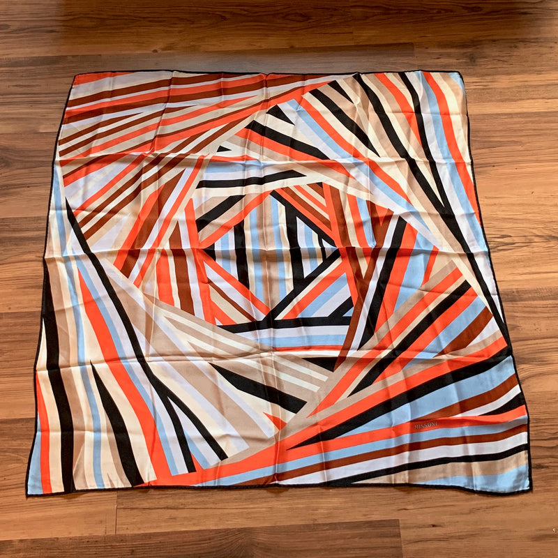 Missoni Blue and Orange Silk Scarf