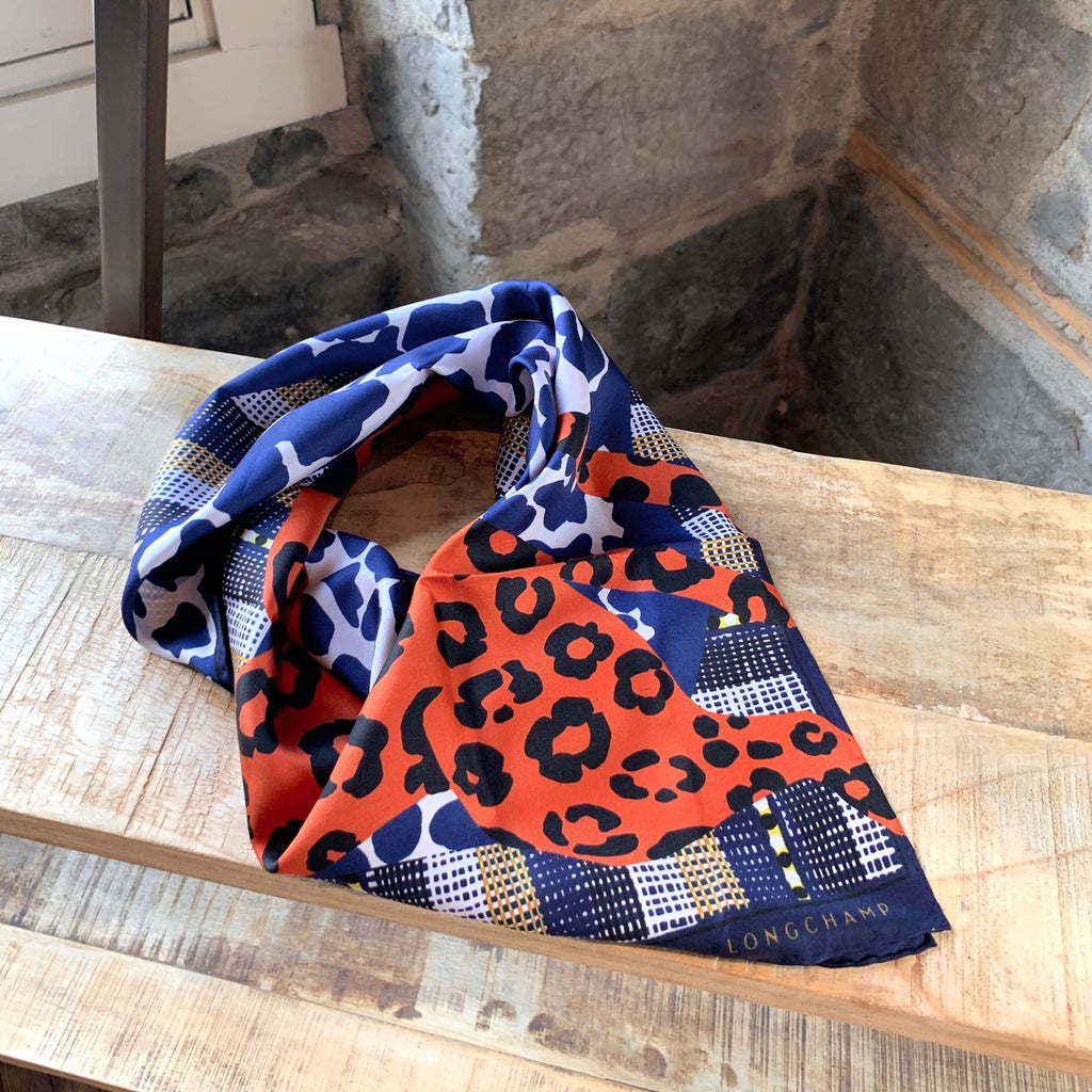 Longchamp Navy & Orange Cheetah And Giraffe Print Scarf