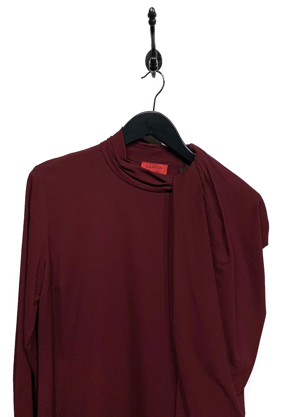 Lanvin FW11 Burgundy Gathered Sleeve Zipper Detail Dress
