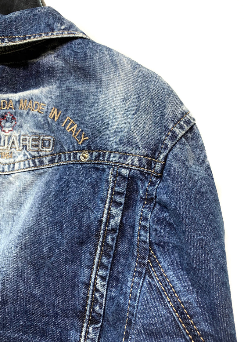 Dsquared2 Washed Blue Embroidered Button Denim Jacket