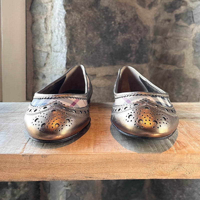 Burberry Metallic Gold Haymarket Check Brogues Flats