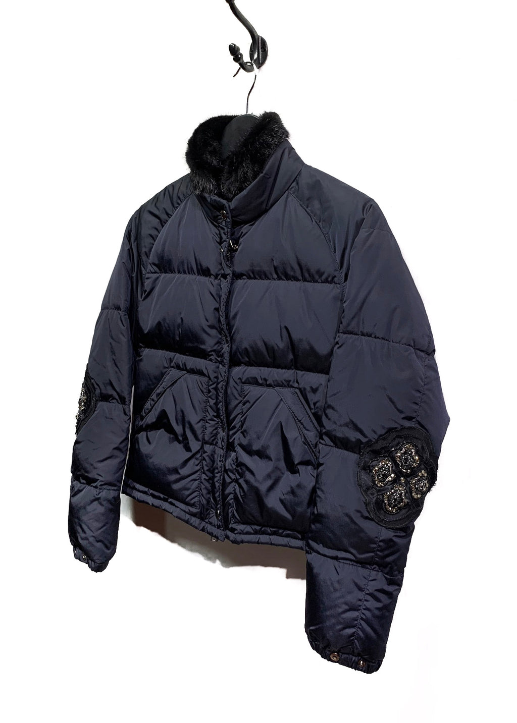 Prada Navy Embroidered Mink Collar Puffer Coat