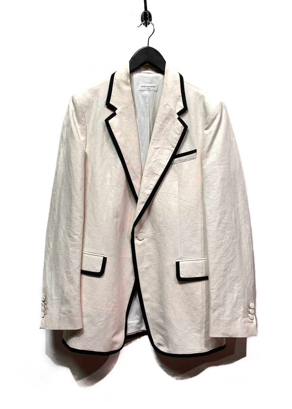 Dries Van Noten Ivory Cotton Piping Detail Blazer