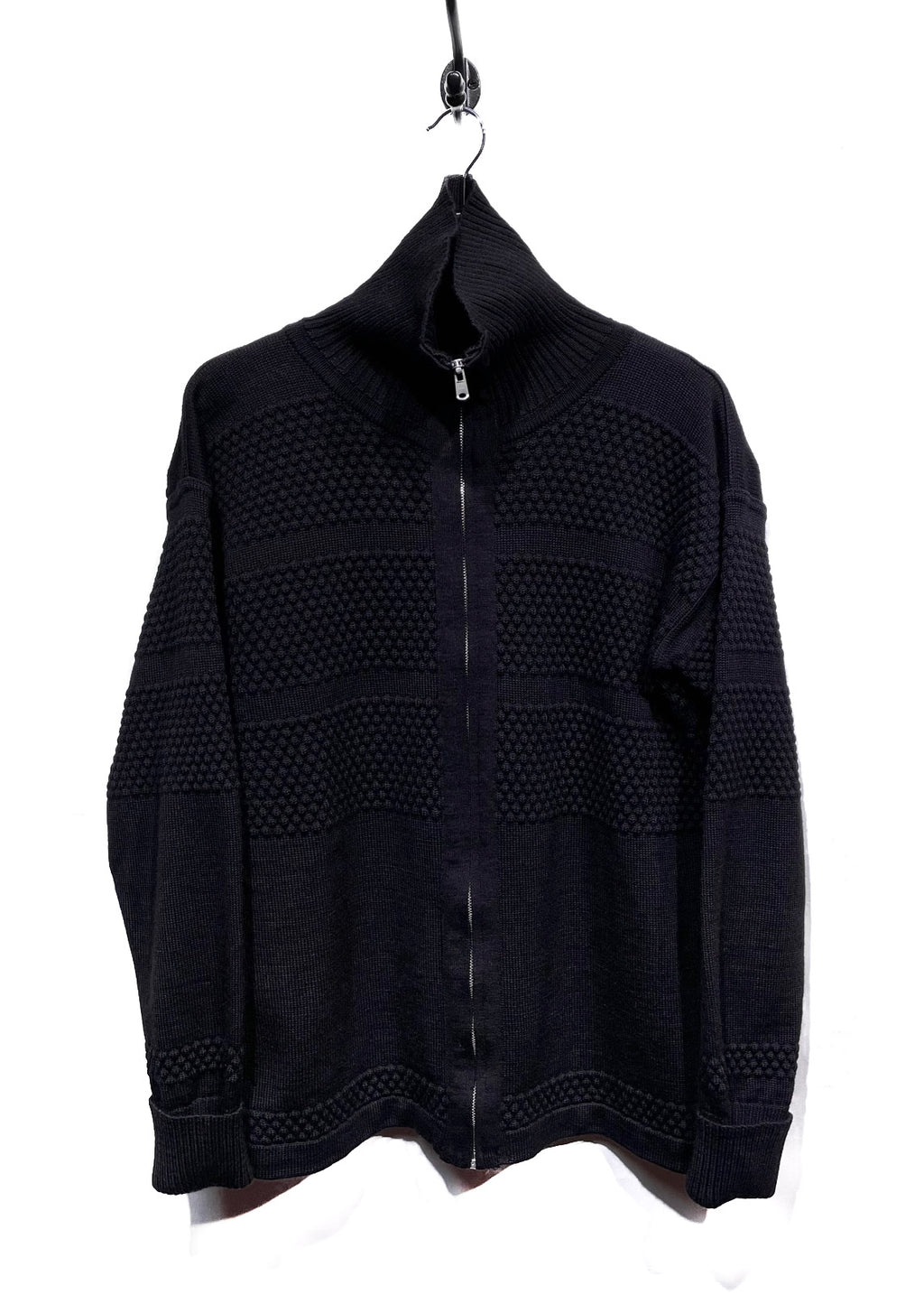 S.N.S. Black Wool Zip-up Knit Sweater