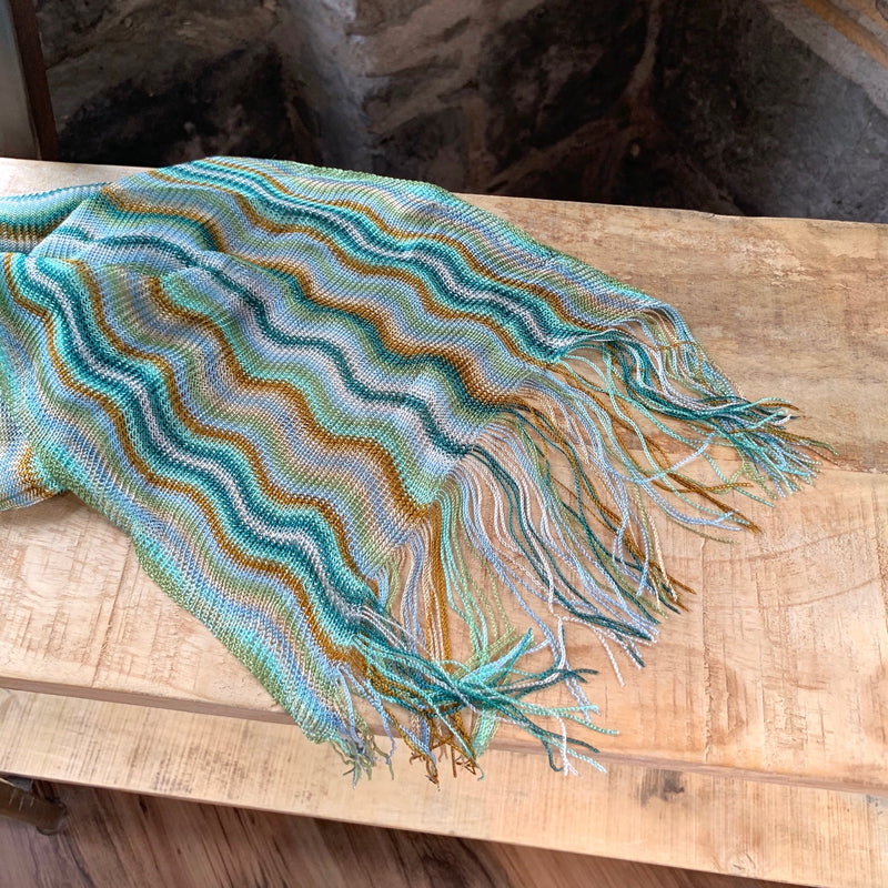 Missoni Green and Orange Wave Scarf