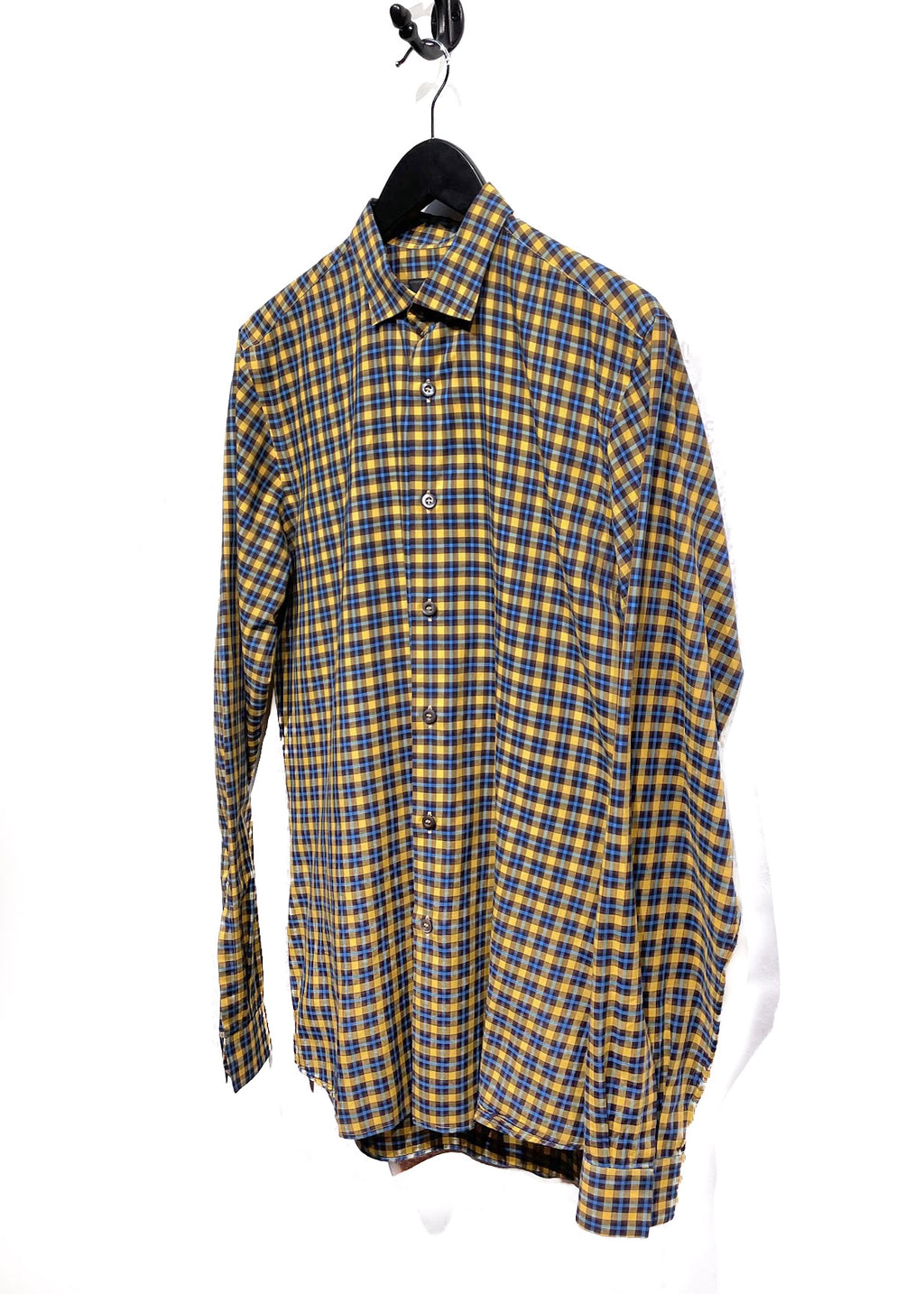 Prada Yellow Blue Checkered Cotton Shirt