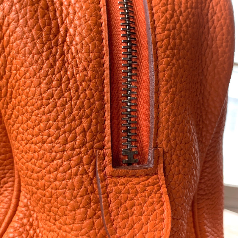 Hermès Orange Clemence Leather Victoria II 35 Fourre-tout Bag