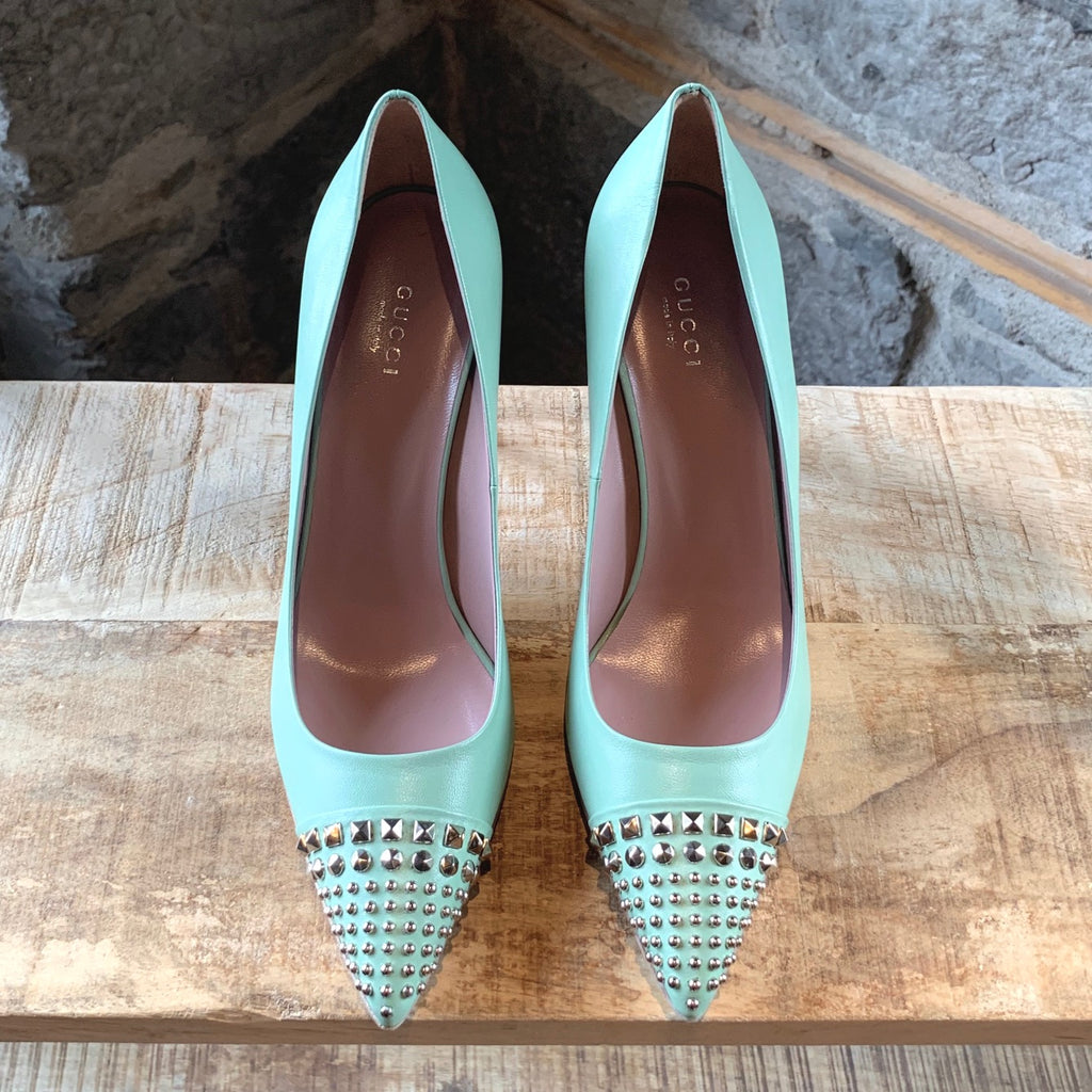 Gucci Seafoam Green Malaga Kid Studded Pumps