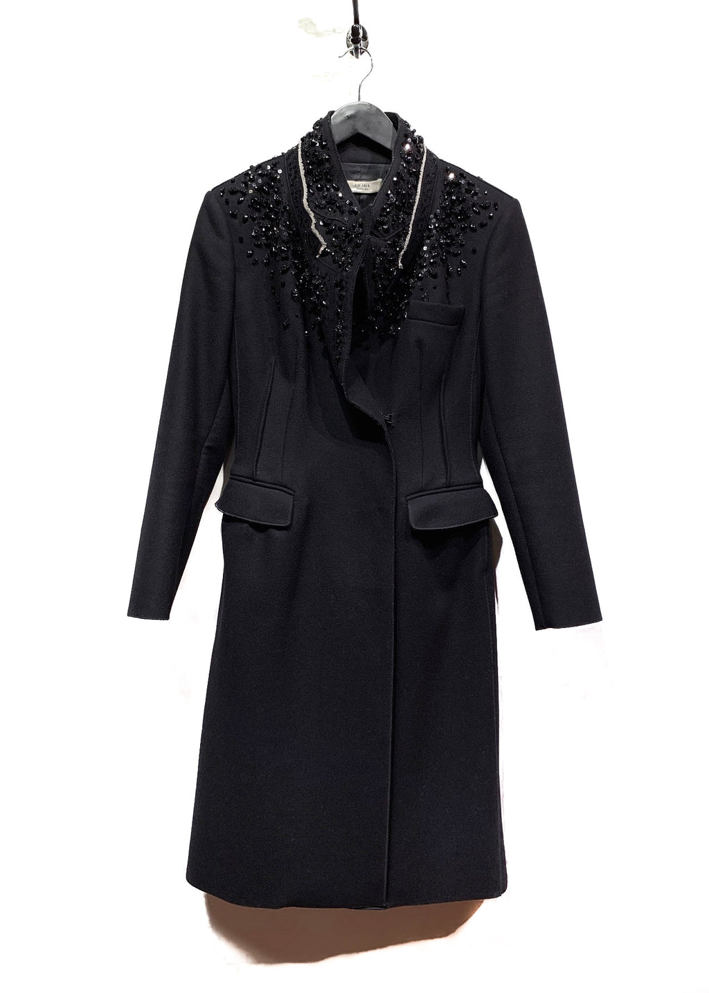 Prada Black Embellished Sequined Wool Coat