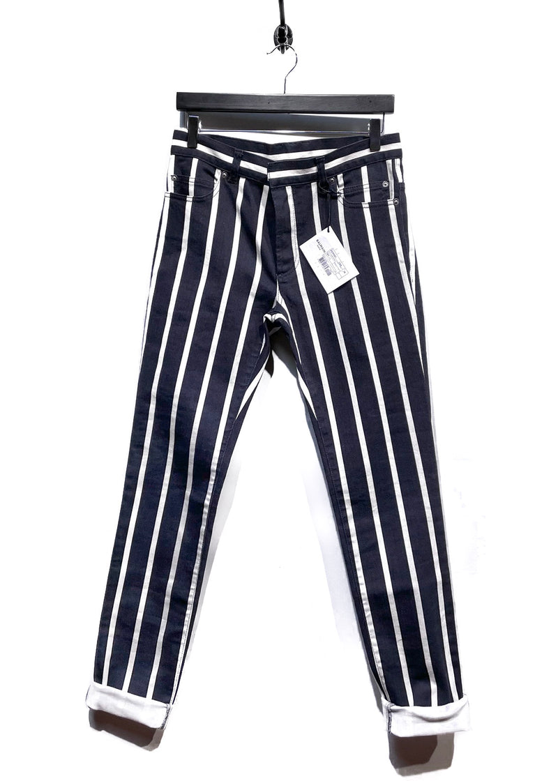 Balmain Black White Striped Denim Jeans