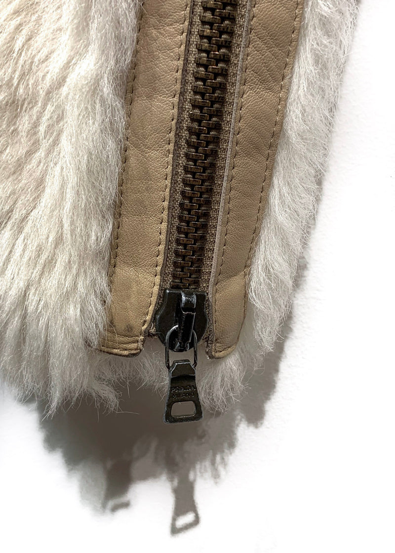 Prada Beige Dye Sheep Fur Belted Jacket
