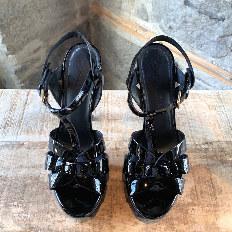 Yves Saint-Laurent Black Patent Tribute Platform Heeled Sandals