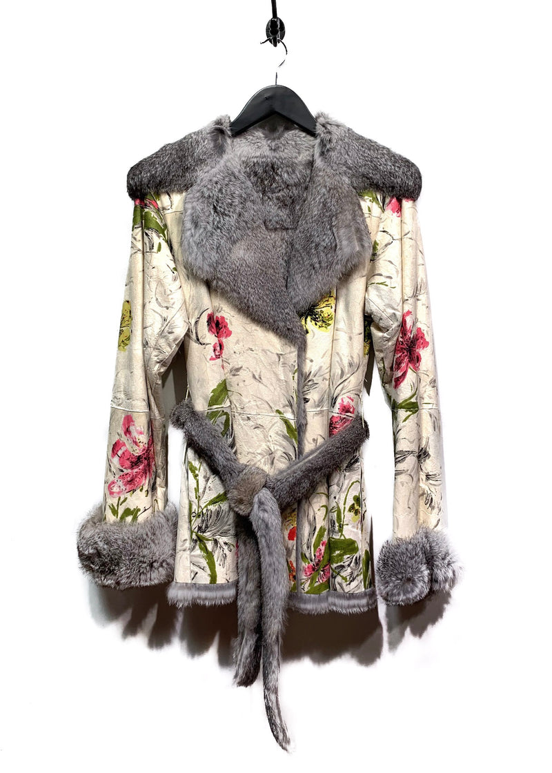 Dolce & Gabbana Rabbit Fur Reversible Coat with Floral Painting