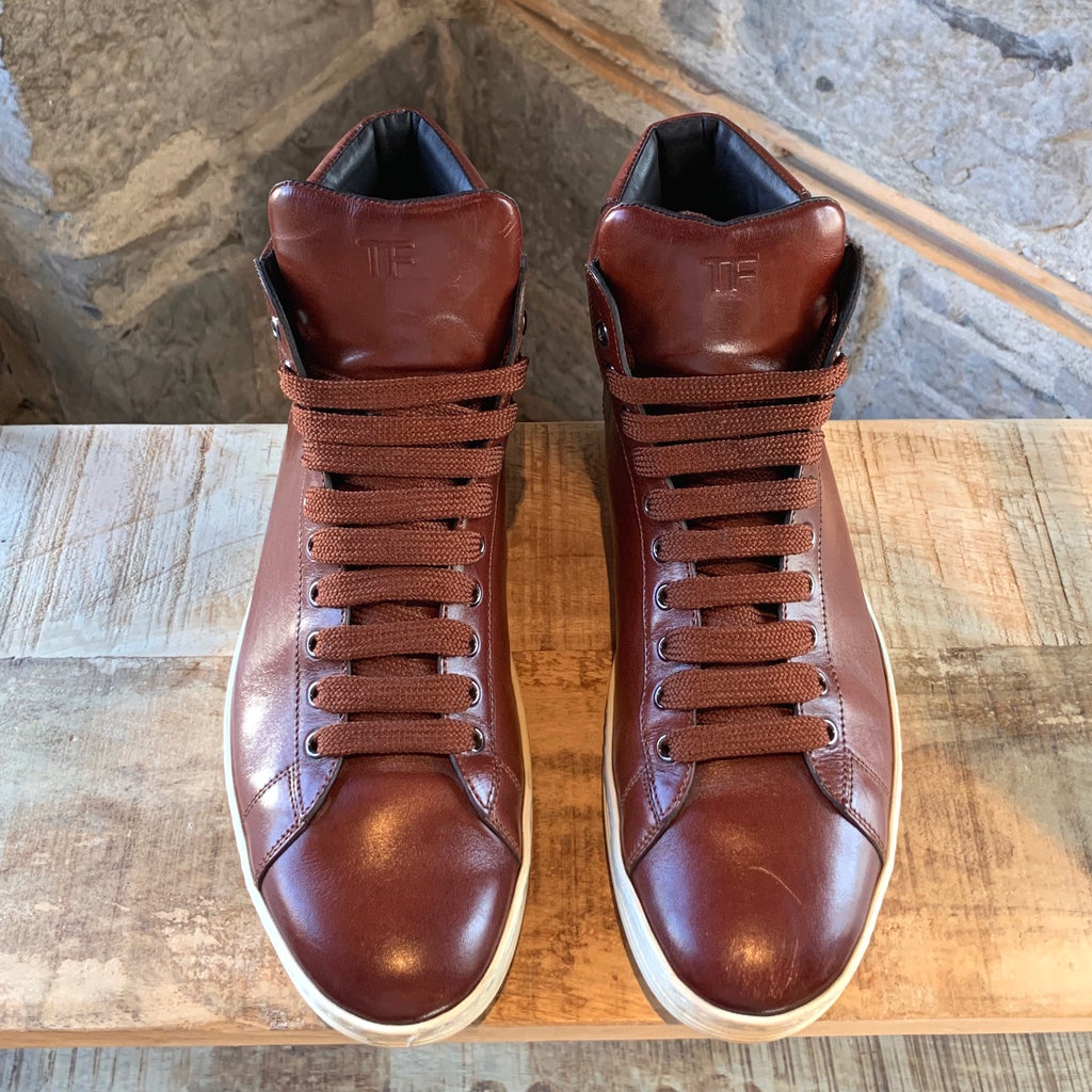 Tom Ford Brown Leather Russel High-top Sneakers