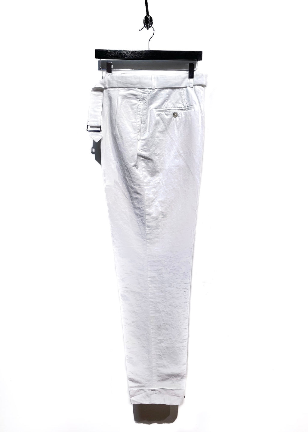 Officine Générale White Cotton Cuffed Belted Trousers