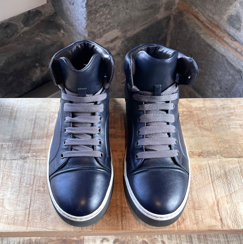 Lanvin Navy Leather High Top Sneakers