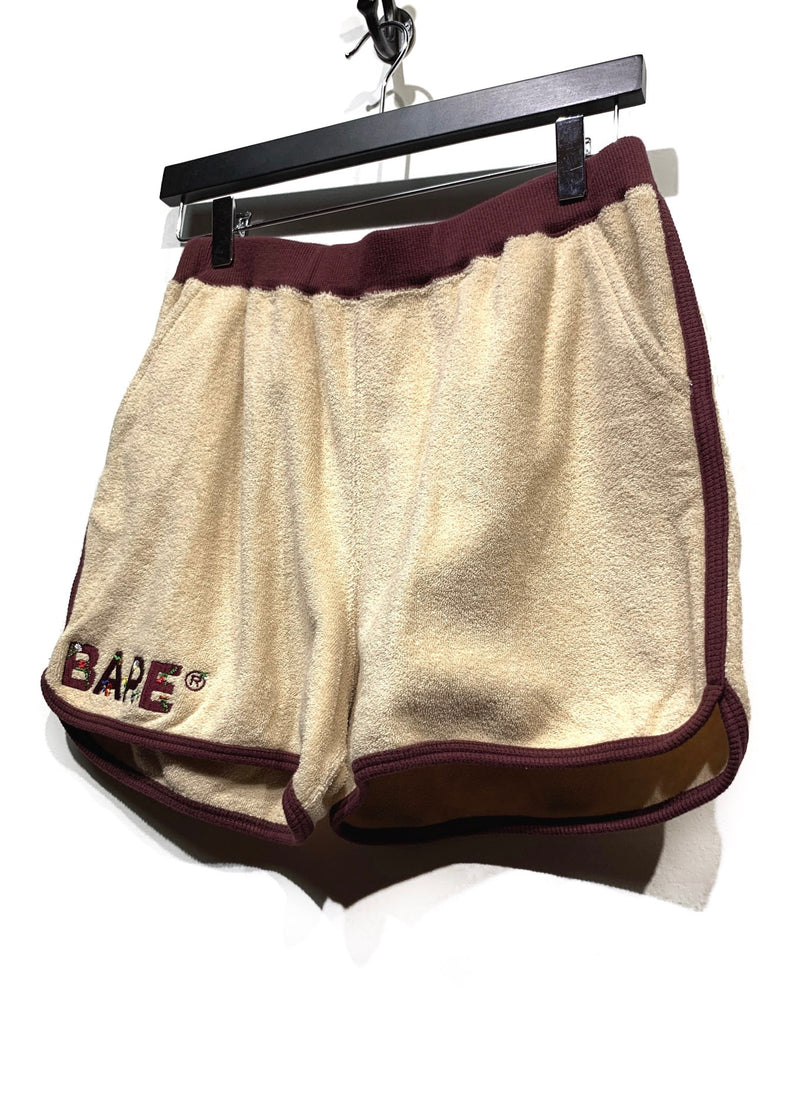 Bape Beige Burgundy Terry Cloth Logo Embroidered Shorts