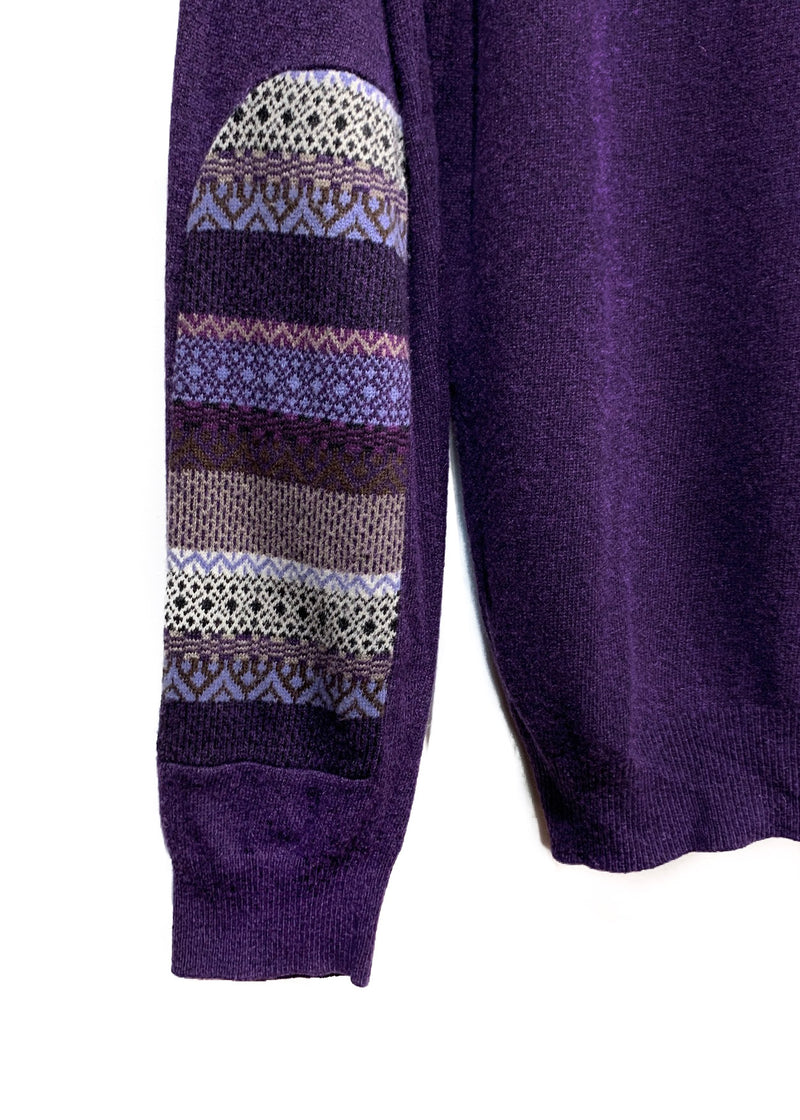 PS Paul Smith Purple Wool Sweater with Fair Isles Elbows