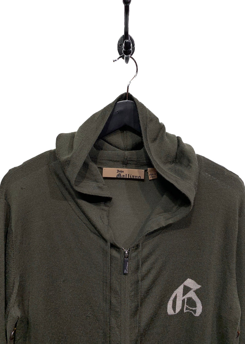 John Galliano Khaki Zip-Up Sweater with Button Details
