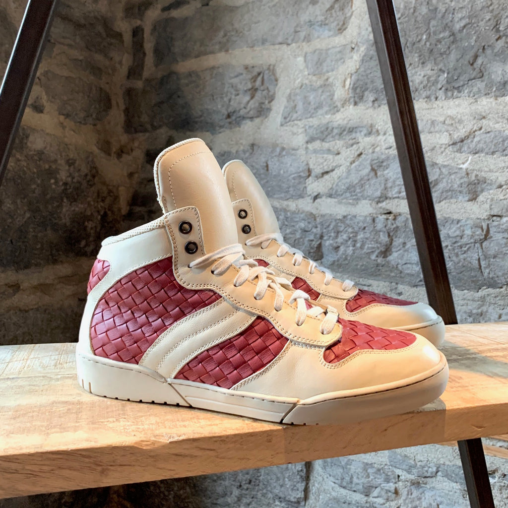Bottega Veneta Intrecciato Ivory Red Leather High-top Sneakers