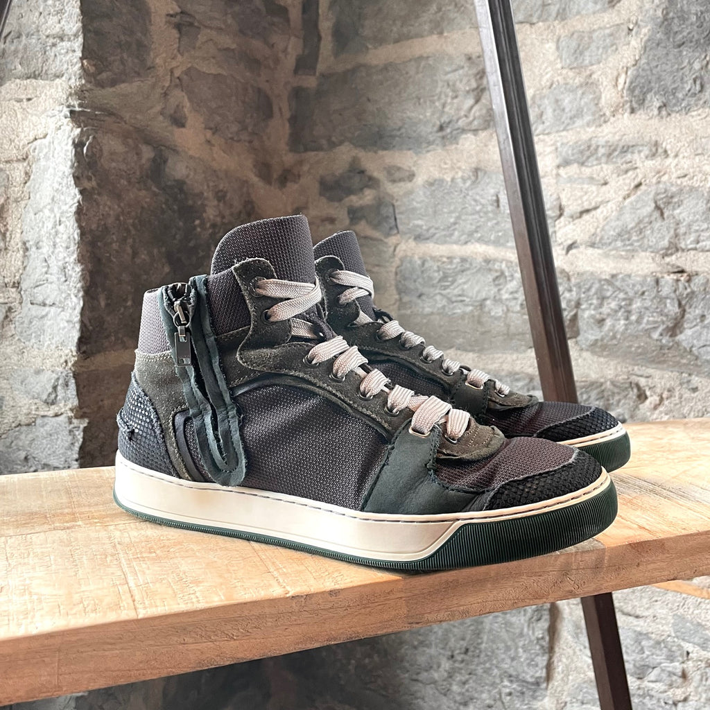 Lanvin Forest Green Multi-fabric Mid-top Sneakers