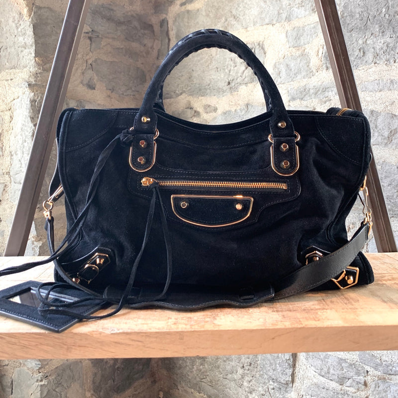 Balenciaga Black Suede Motocross Metallic Edge Classic City Bag