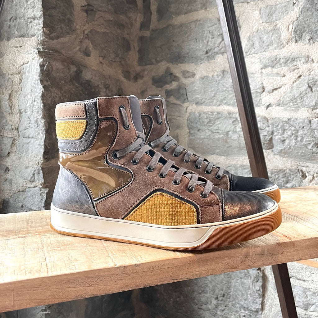 Lanvin Yellow Mustard Multi Fabric Combo High-top Sneakers