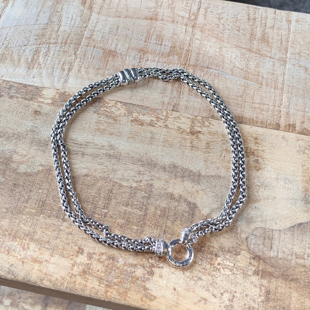 "David Yurman 16"" Silver Double Wheat Chain Necklace with Diamonds"