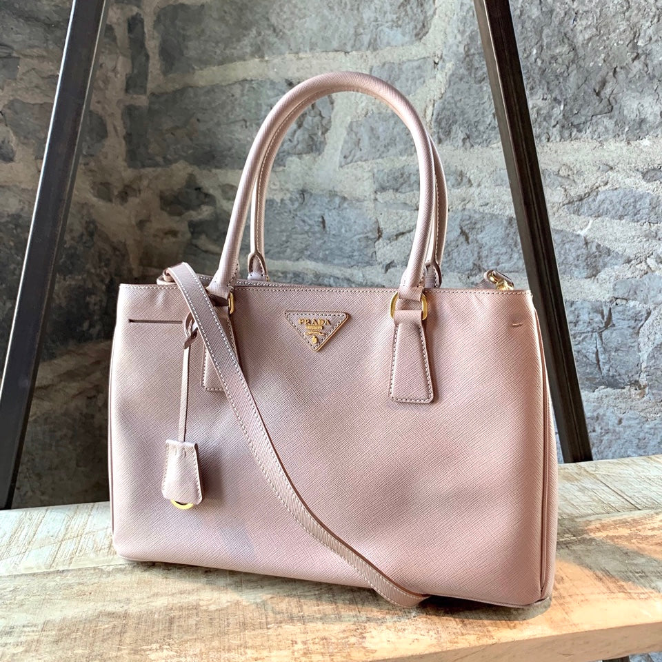 Prada Rose Nude Cammeo Small Saffiano Lux Galleria Shopping Tote Bag