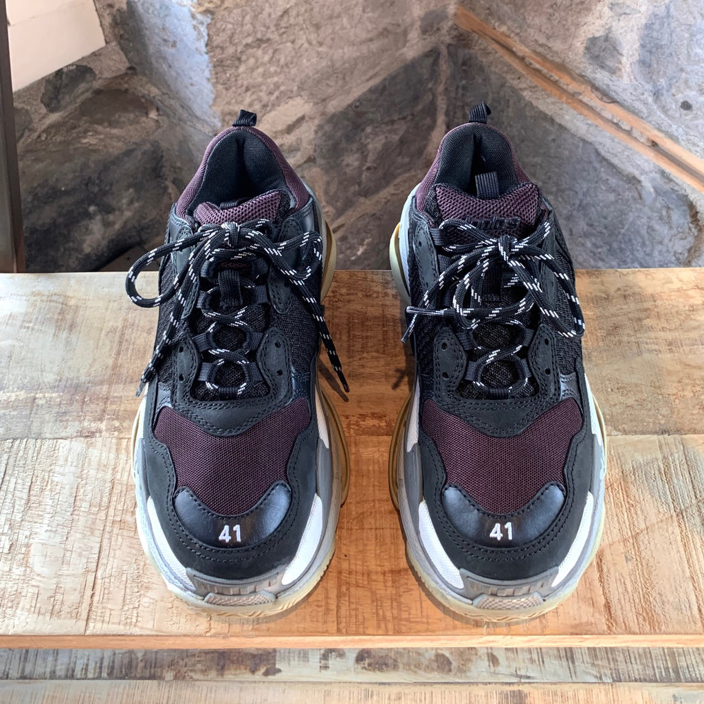 Balenciaga Black Burgundy Triple S 2.0 Chunky Sneakers