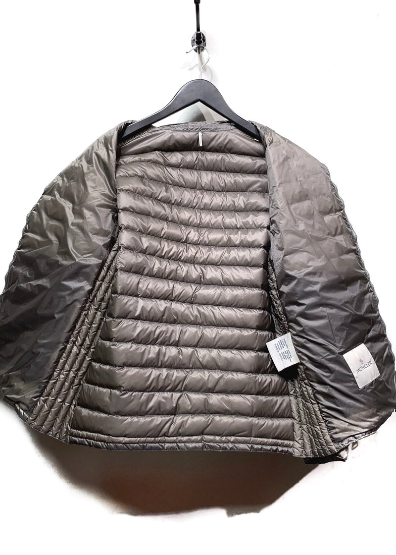 Moncler Taupe Auguste Light Down Padded Zip-up Moto Jacket