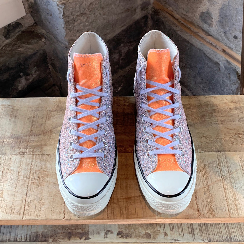 Converse X J.W. Anderson Pink Orange Glitter Chunk 70 Sneakers