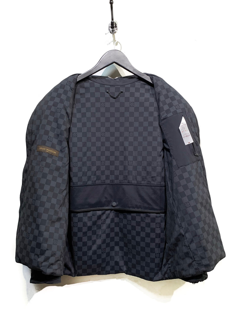 Louis Vuitton Black Nylon Amovible Sleeves Moto Jacket