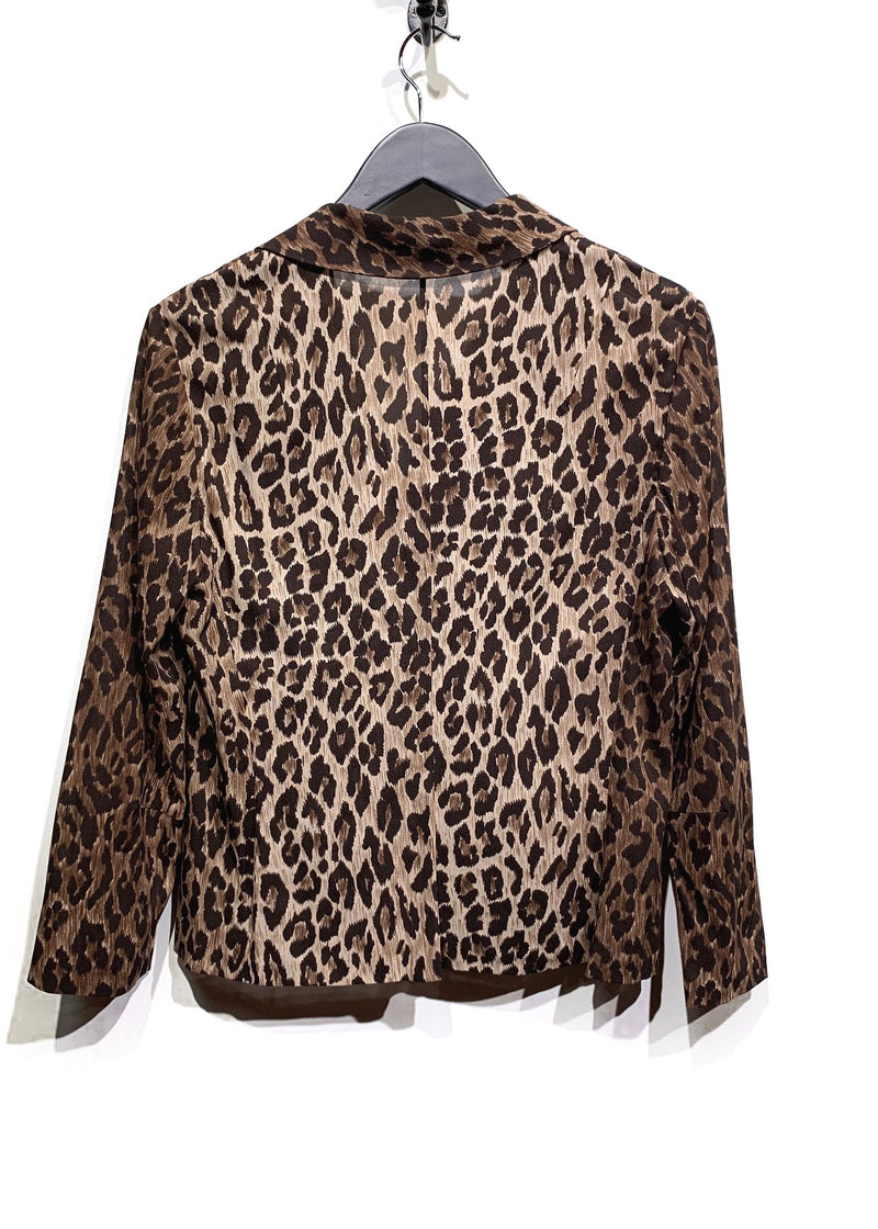 Dolce & Gabbana Brown Leopard Print Stretch Silk Blouse