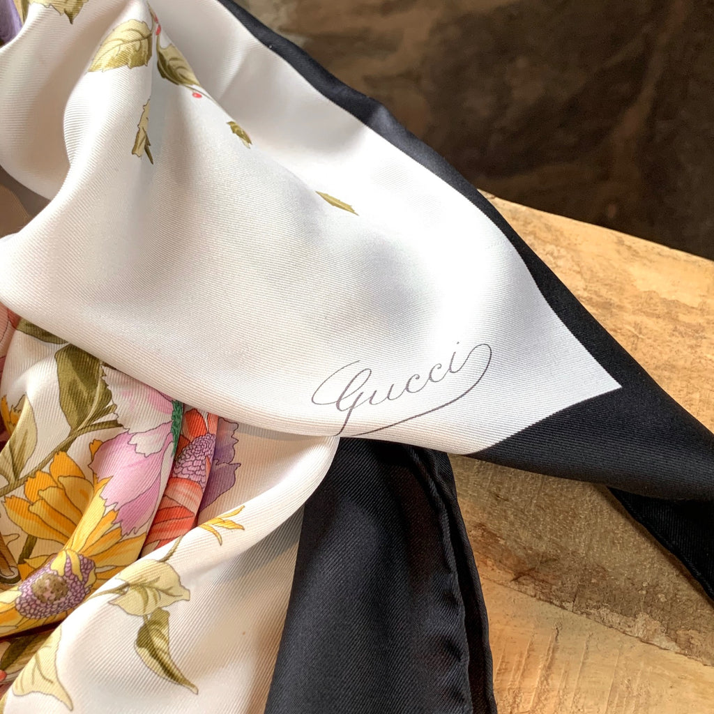 Gucci Vintage Ivory Floral Print Silk Square Scarf