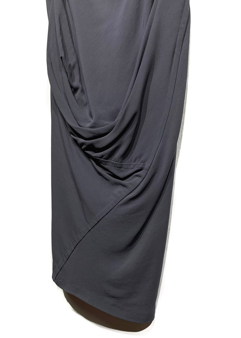 Rick Owens Brown Mushroom Silk Skirt with Draped Detail
