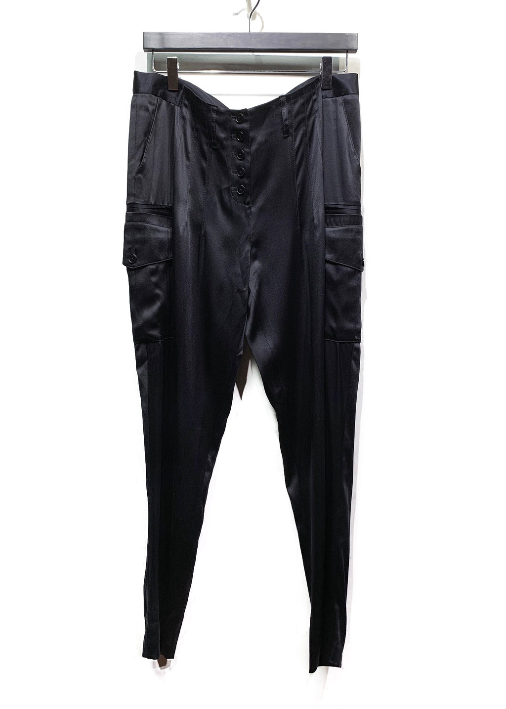 Alexander Wang Black Satin Silk Cargo Trousers