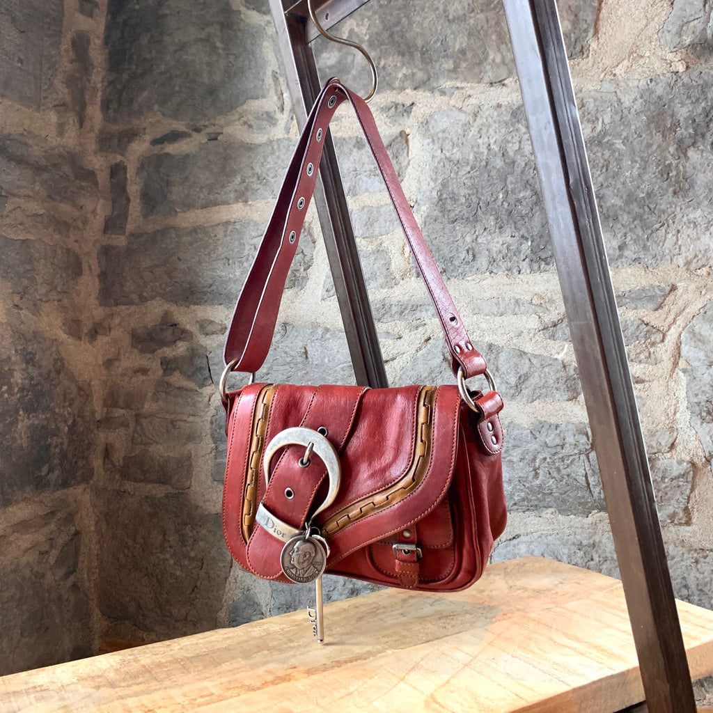 Christian Dior Vintage Brick Red Leather Mini Gaucho Shoulder Bag