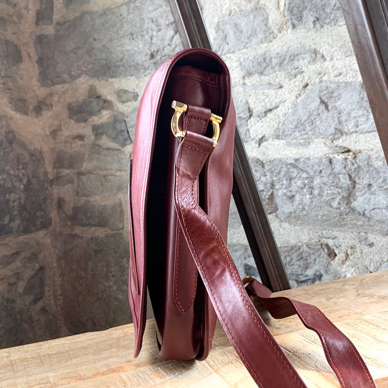 Must de Cartier Vintage Burgundy Leather Crossbody Shoulder Bag
