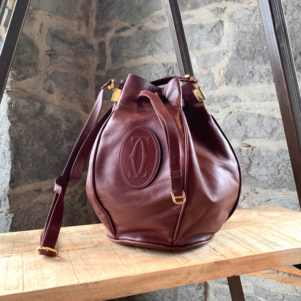 Must de Cartier Vintage Burgundy Leather Bucket Bag