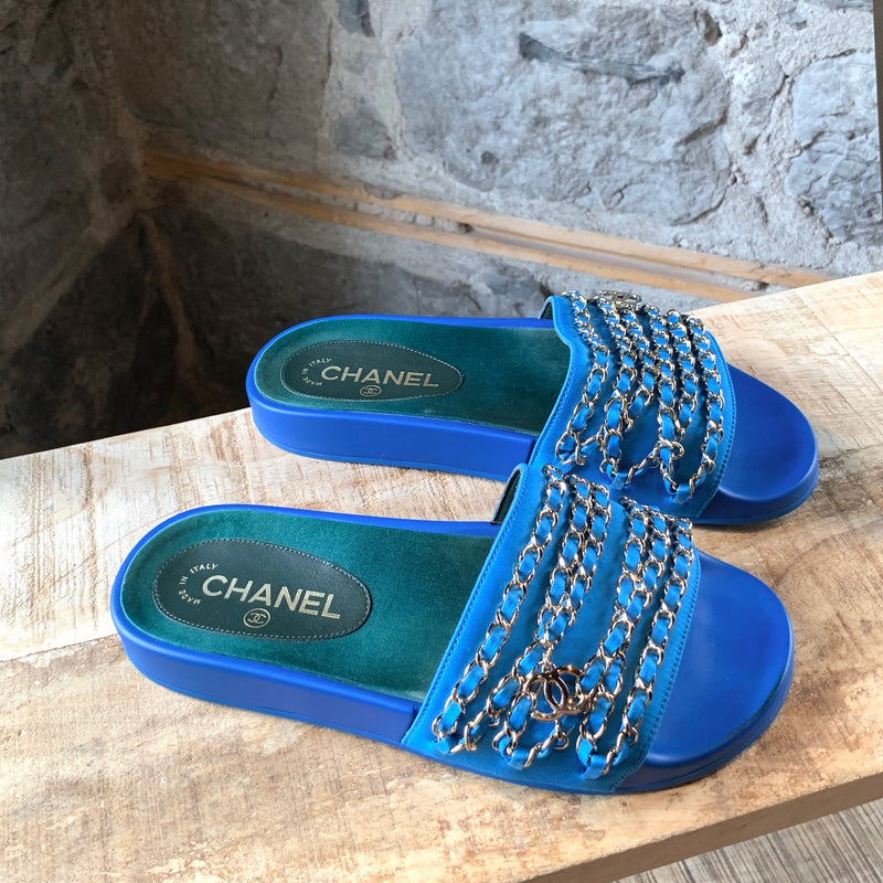 Chanel Blue Slides with Gold Chains Dangles CC Charm
